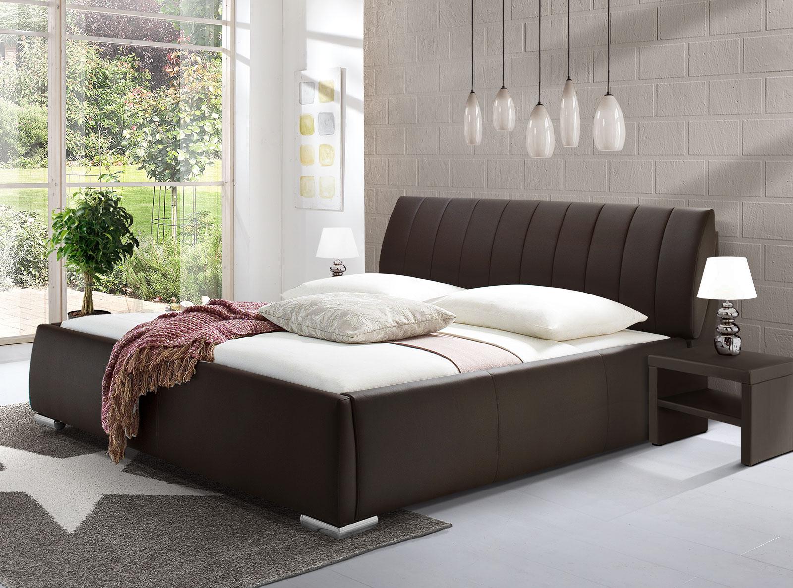 Kunstlederbett mit Bettkasten und Lattenrost - Lewdown