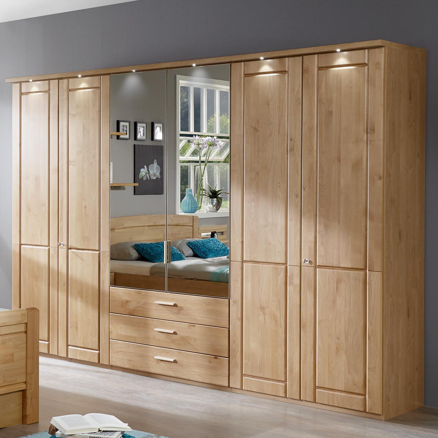 Kleiderschrank aus Holz mit Spiegel und Schubalden - Trikomo