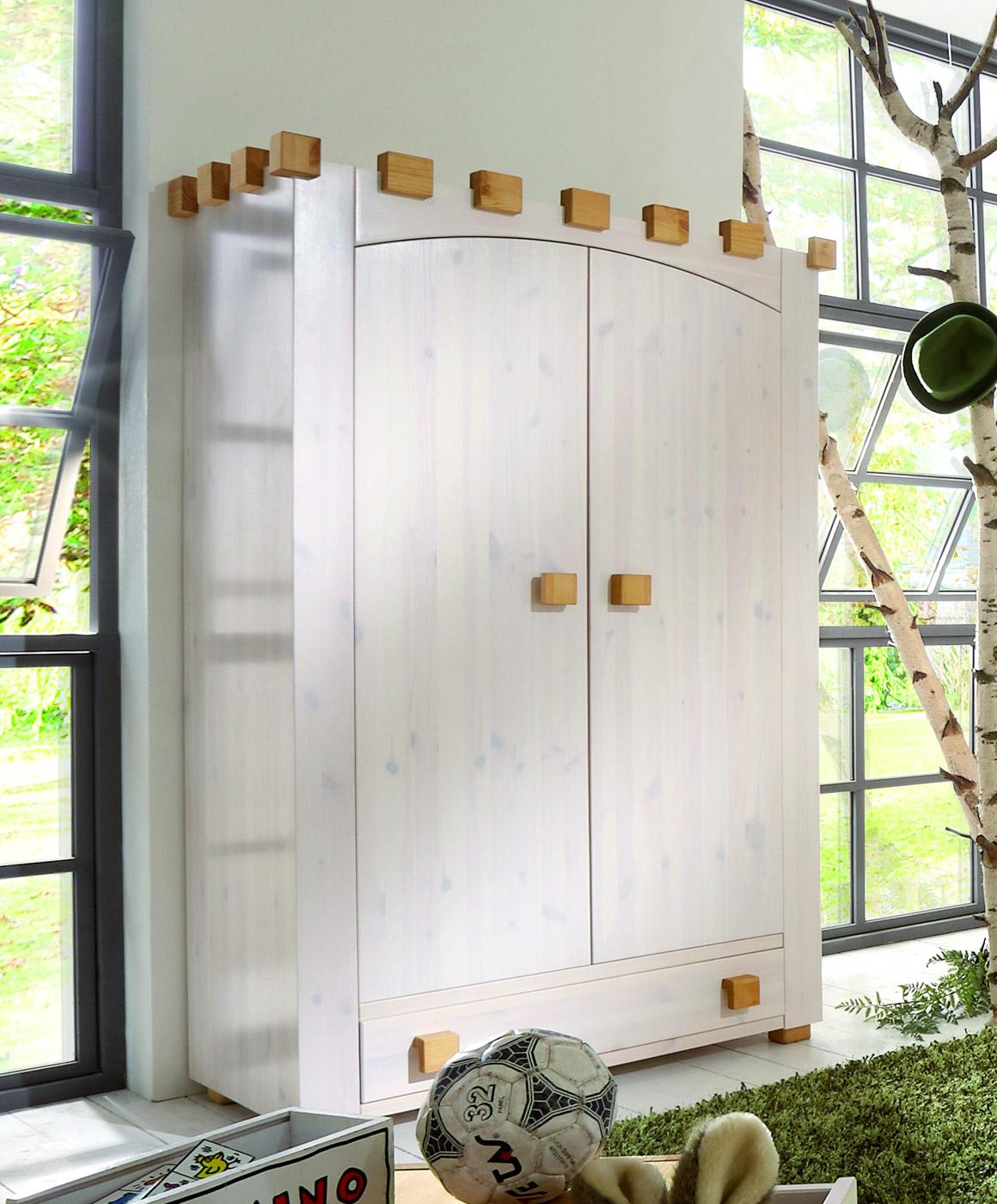 Kinderzimmer Kleiderschrank Ritterburg aus Kiefer in weiß
