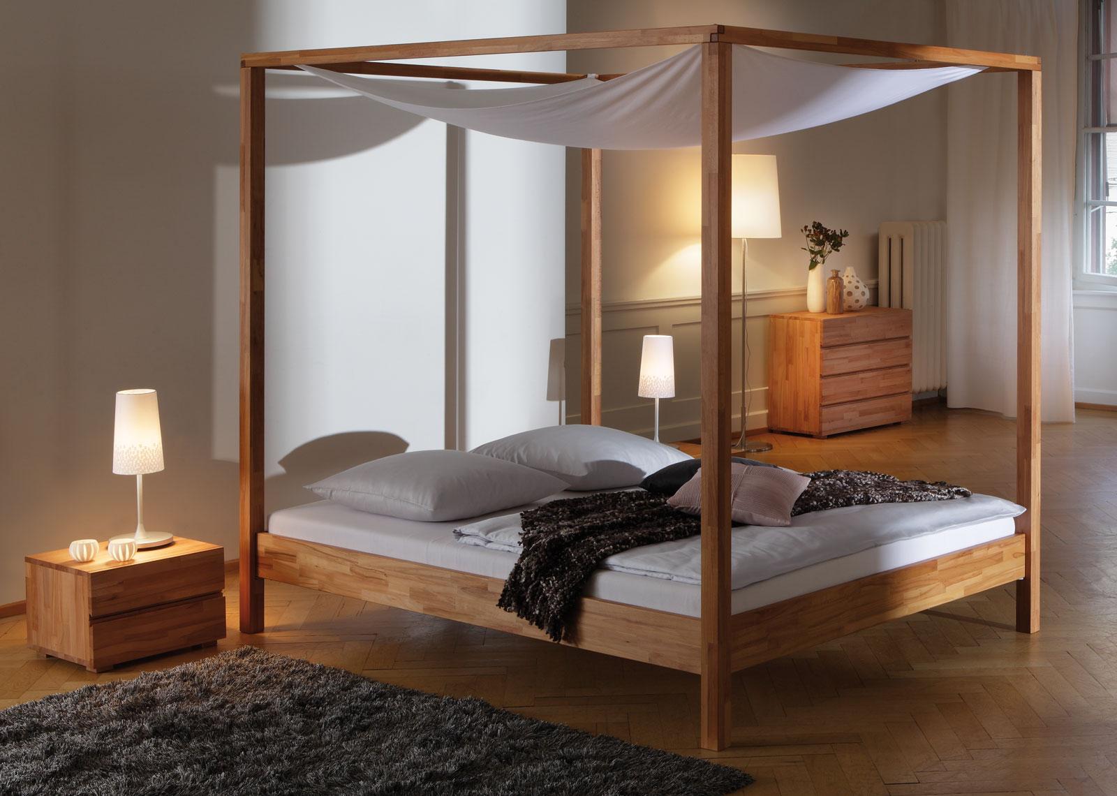Schones Himmelbett Aus Buche In 160x200 Cm Bett Merida