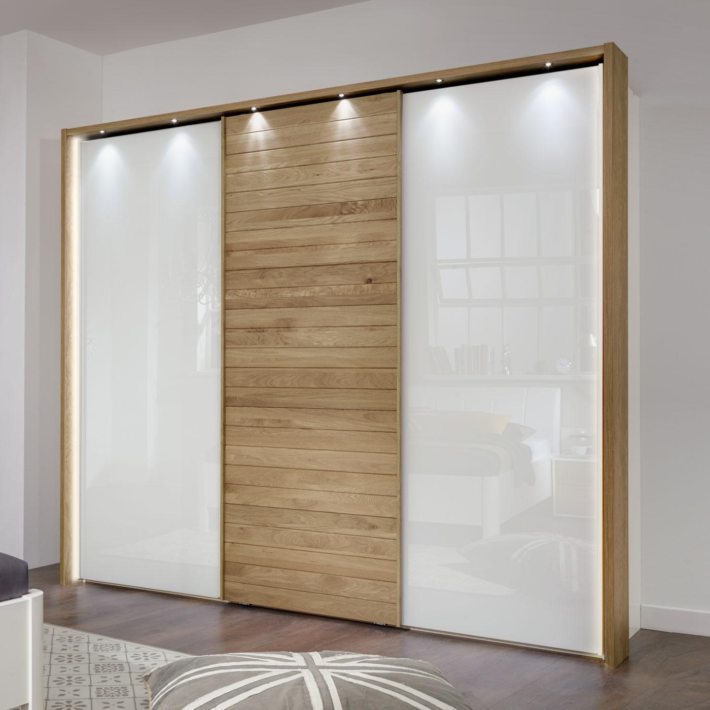 schwebet renschrank aus wei em glas und eiche massivholz. Black Bedroom Furniture Sets. Home Design Ideas