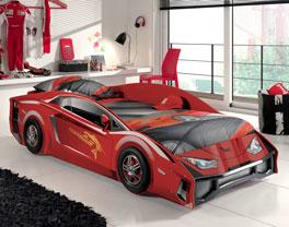 Rotes Autobett Match inklusive Roll-Lattenrost