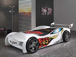 Autobett Tuning weiß mit Rennwagen-Design