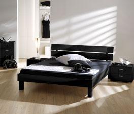 Modernes Bett Norman mit Kopfteil in Schwarz