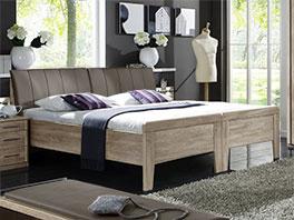 Bett Runcorn in Eiche sägerau mit Kopfteil und Doppelbett-Optik