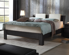 Boxspringbett Kingston mit Massivholzrahmen in Eiche graphit