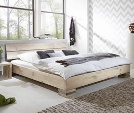 Tolles Design Massivholzbett Curada in Wildeiche Weiß
