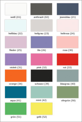 Übersicht der MDF-Farben von Kids Town