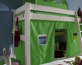 Midi-Hochbett Kids Dreams mit Absturzsicherung und Spielvorhang