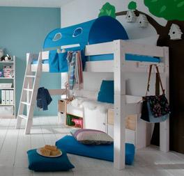 Midi-Hochbett Kids Dreams mit optionalem, blauem Spielvorhang