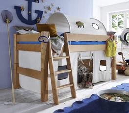 Mini-Hochbett Kids Fantasy aus massiver Buche mit Maserung