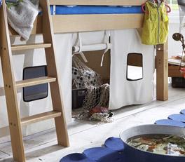 Mini-Hochbett Kids Fantasy mit Vorhang-Set als optionales Zubehör