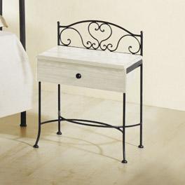 Nachttisch Loria mit Schublade und romantischen Details
