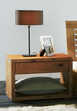 Wildeiche-Nachttisch Porto mit Schublade