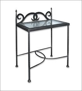 Nachttisch Temco aus Metall und Glas
