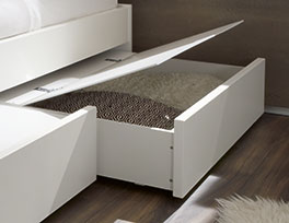 Hochwertiges Schubkasten-Doppelbett Liverpool in Weiß
