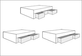 Das Verhältnis der Schubladen des Bettes