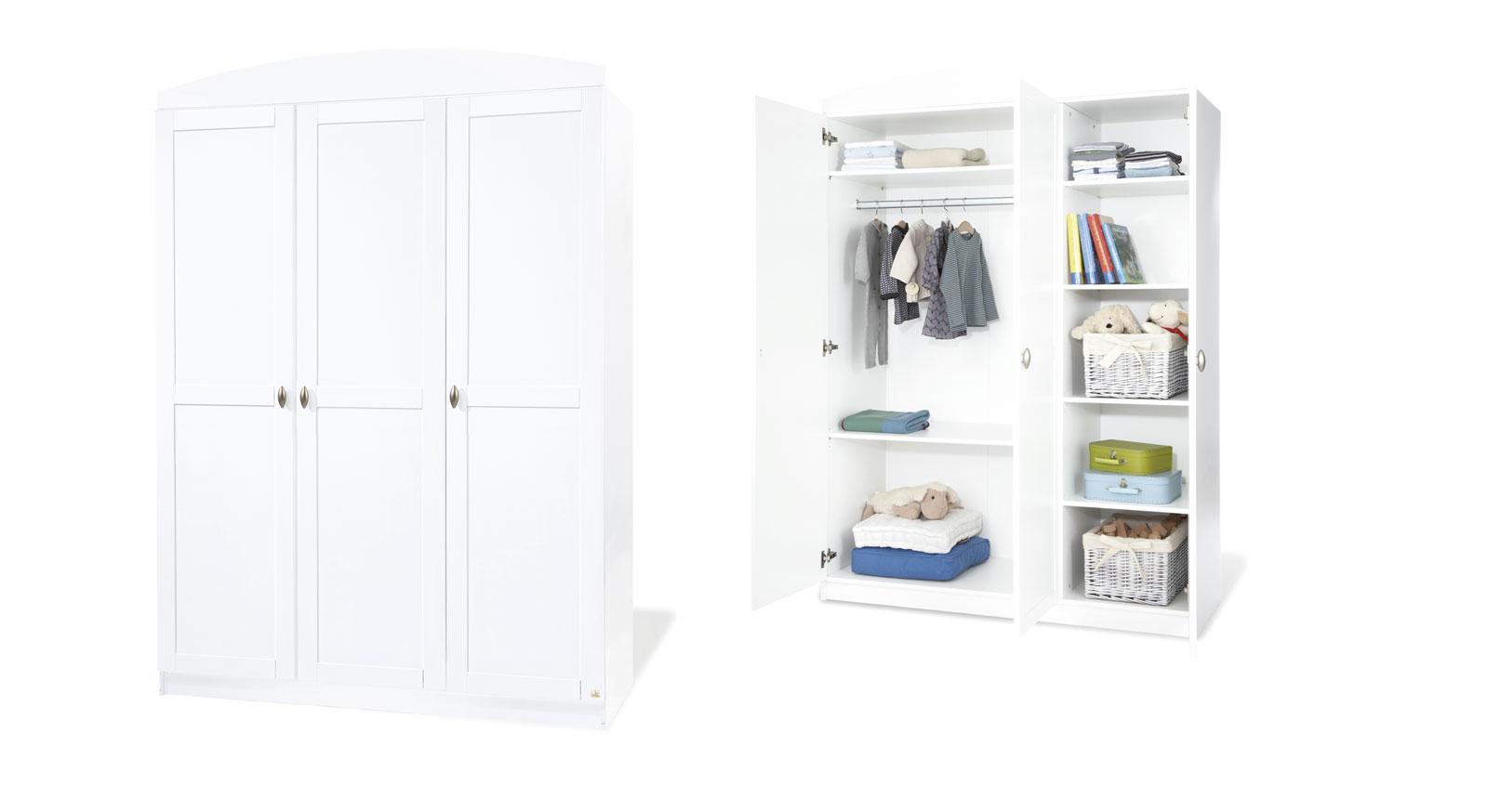 Kleiderschrank Svea Weiß Variante 02 3 Türen