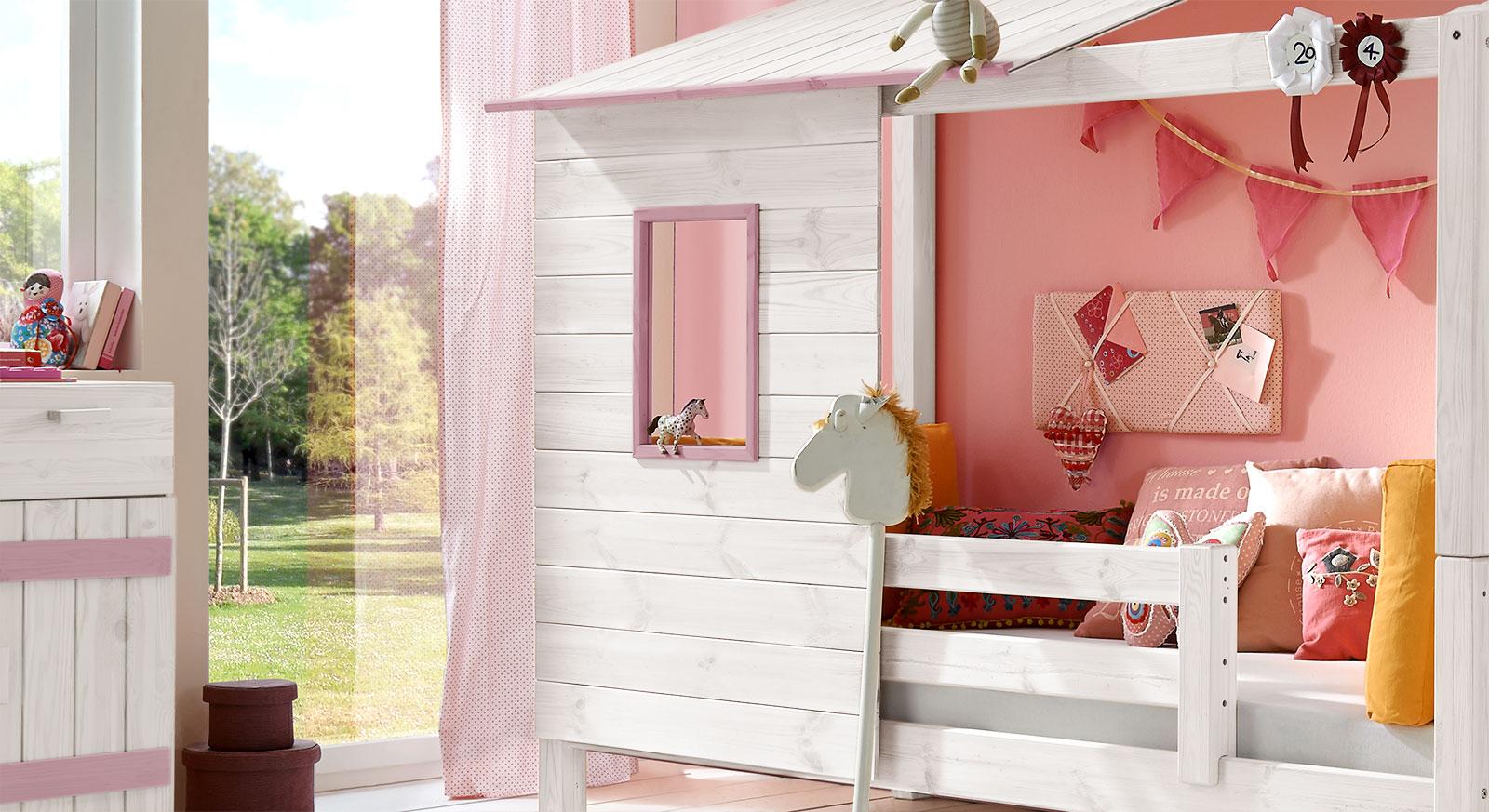 Abenteuer-Bett Kids Paradise für Mädchen in weißem Holz mit Flieder