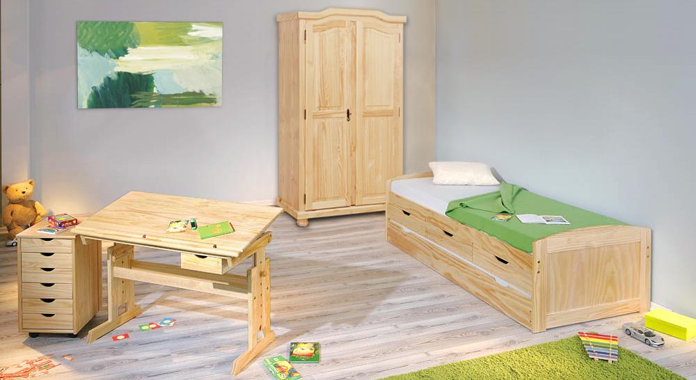 ausziehbett in 90x200 cm aus massivholz kinderbett ben. Black Bedroom Furniture Sets. Home Design Ideas