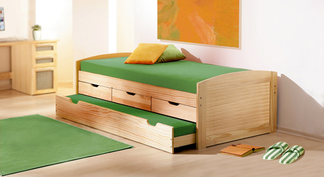 ausziehbett in 90x200 cm aus massivholz kinderbett ben. Black Bedroom Furniture Sets. Home Design Ideas