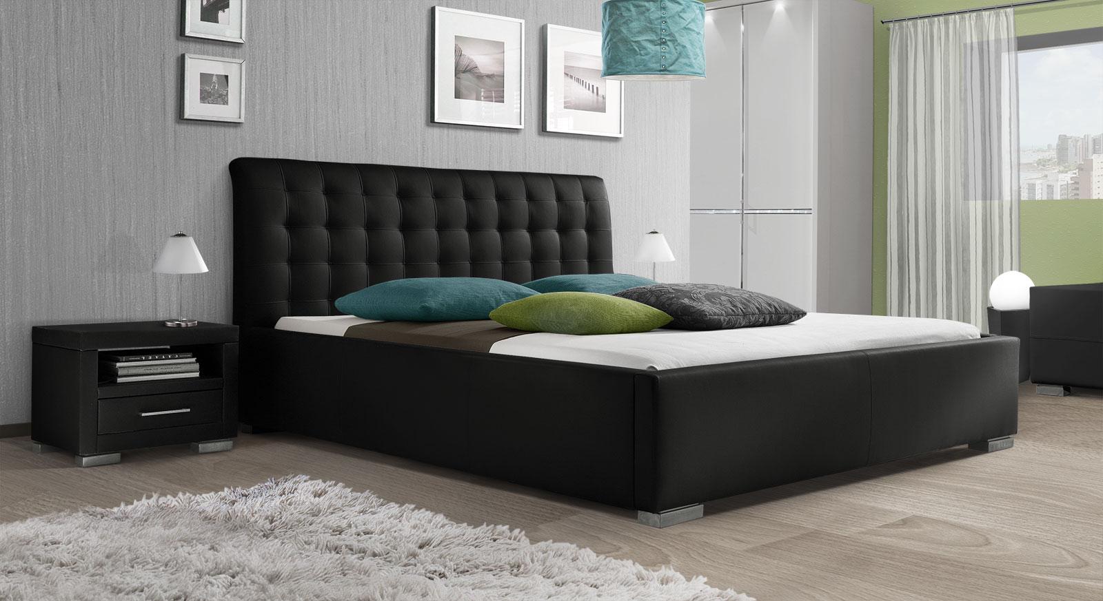 Kunstlederbett Baskerville Comfort mit schwarzem Bezug