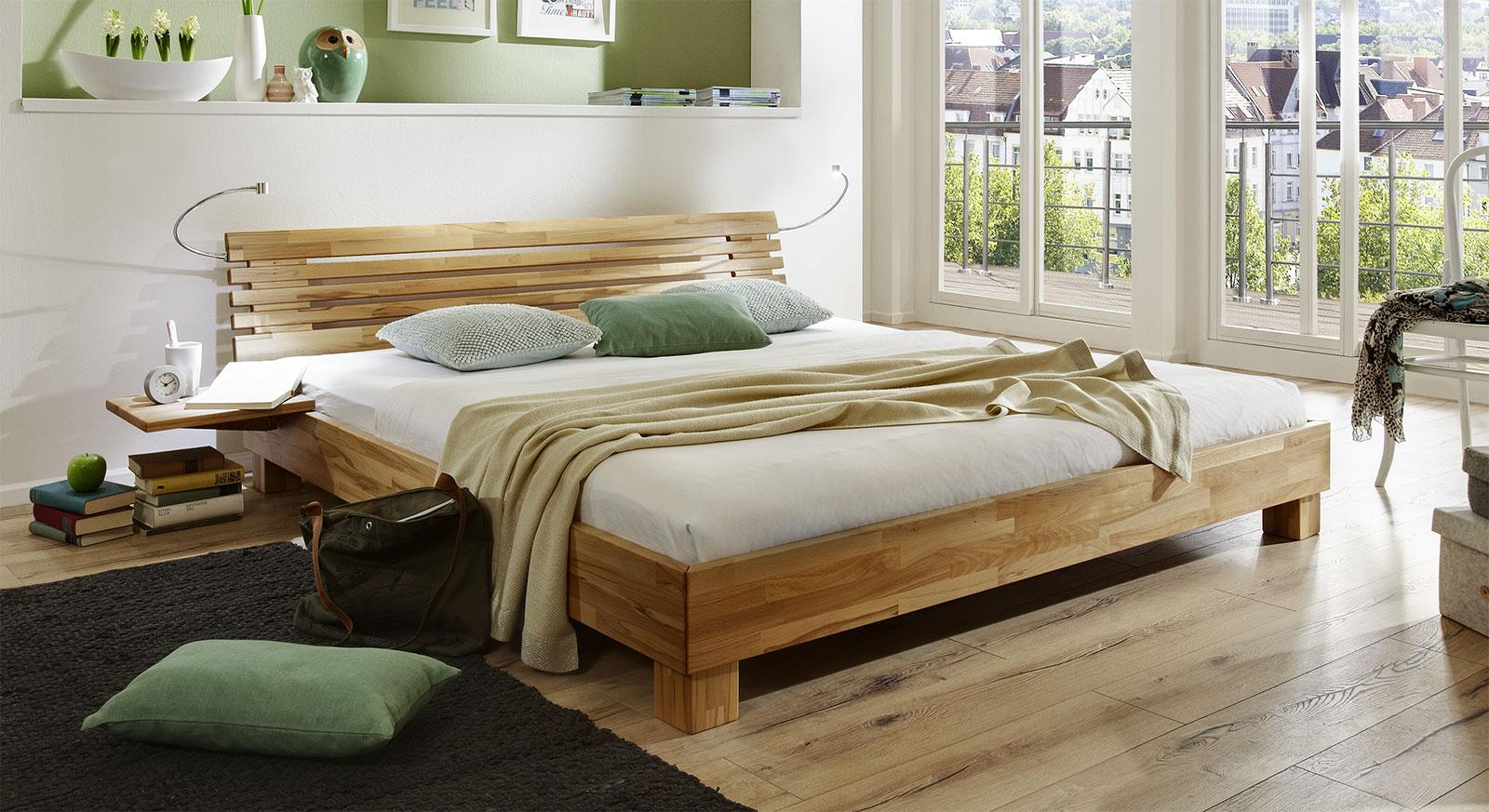 Bett Marmore aus Massivholz in Kernbuche natur