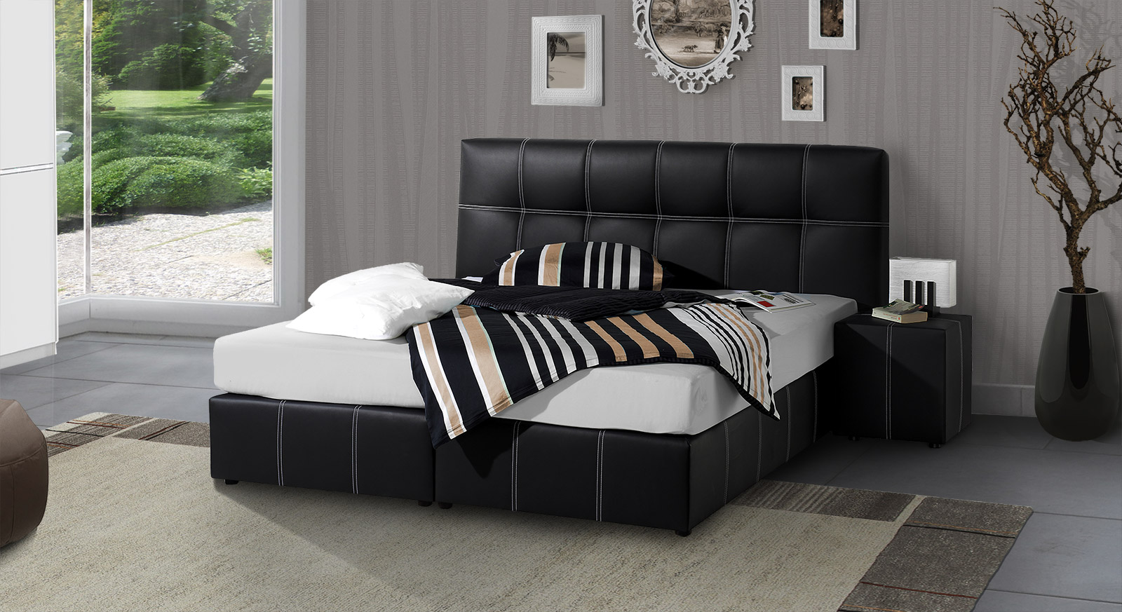 boxspringbett aus kunstleder in schwarz oder wei athen. Black Bedroom Furniture Sets. Home Design Ideas
