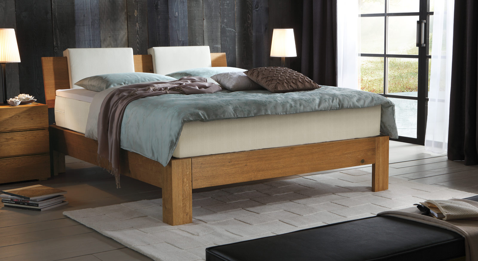 Boxspringbett Kingston in Eiche natur