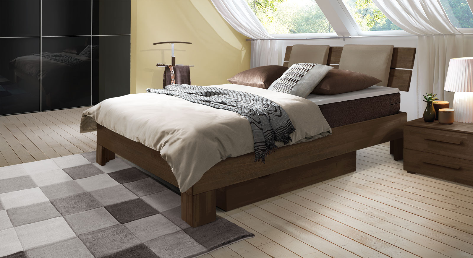 Boxspringbett Port-Louis in Buche wenge
