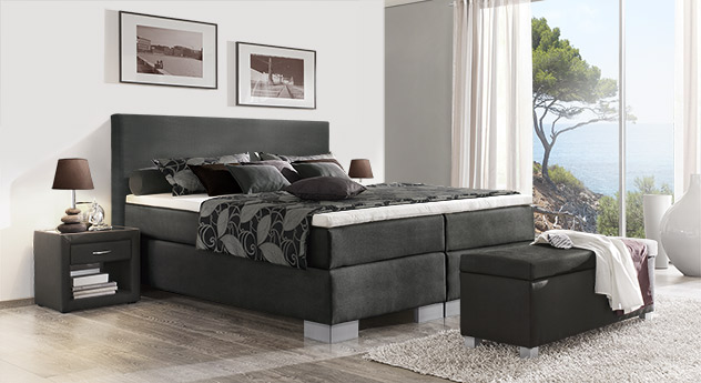 Boxspringbett Puebla in anthrazitfarbenem Webstoff in 66 cm Höhe