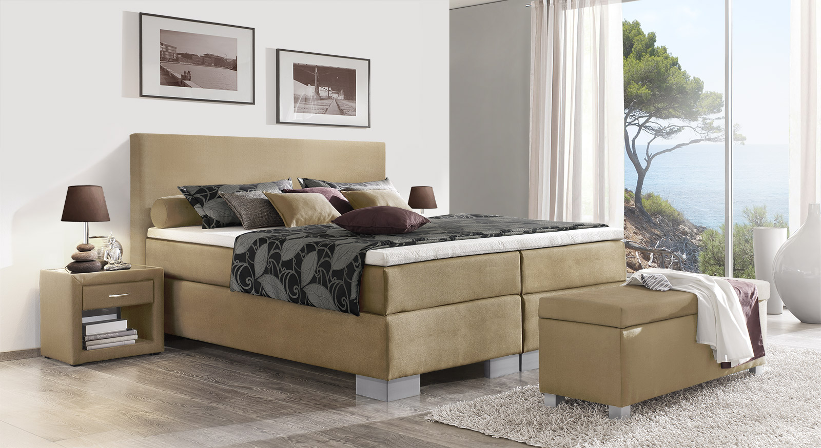Boxspringbett Puebla in naturfarbenem Webstoff in 66 cm Höhe