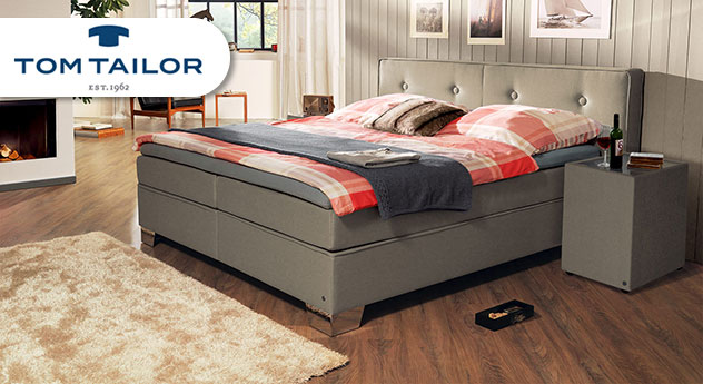 Boxspringbett Tom Tailor Soft mit Webstoff in Taupe