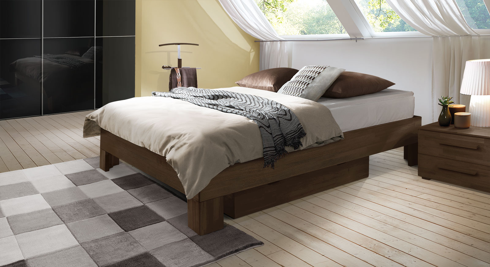 Boxspringliege Port-Louis in Buche wenge