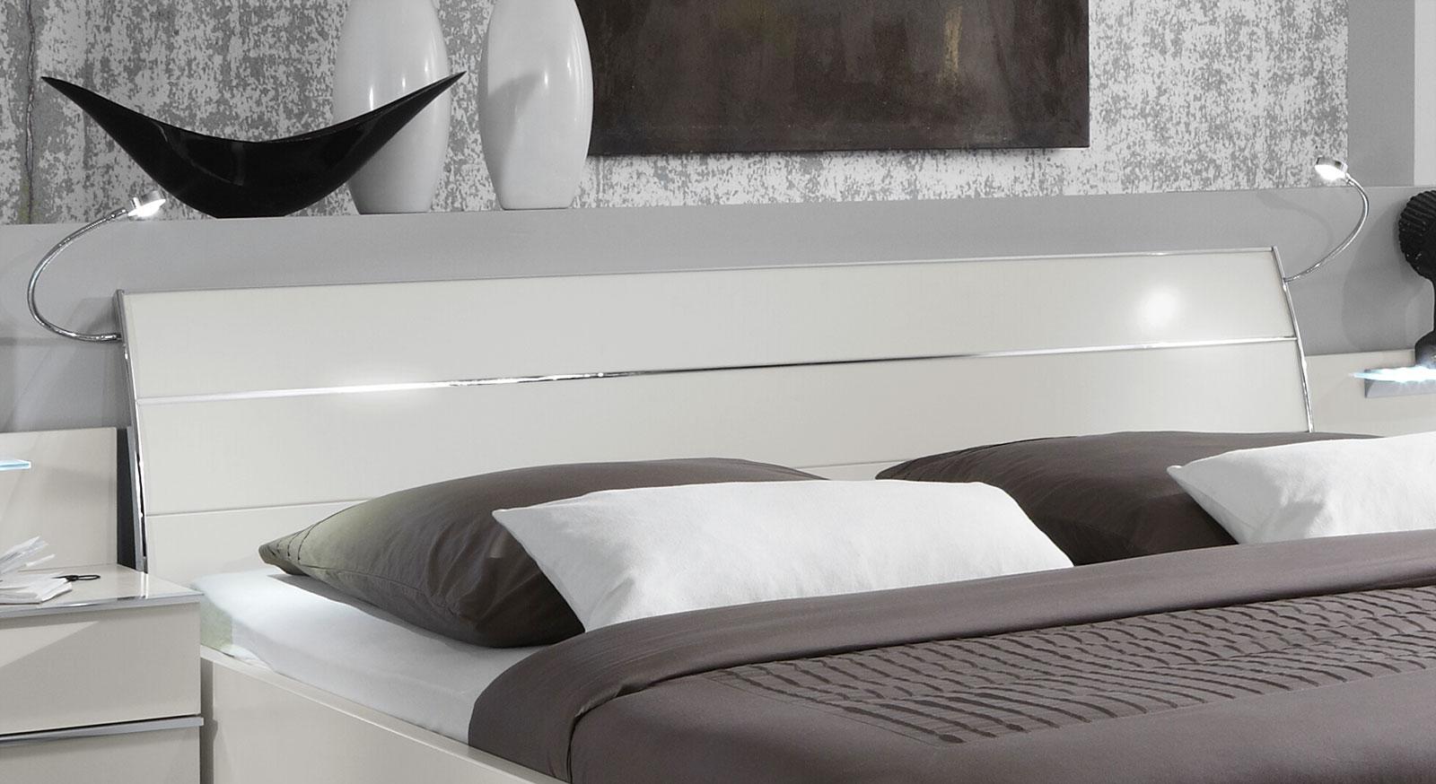 Schubkasten-Doppelbett Salford mit Kopfteil und Chrom-Verzierung