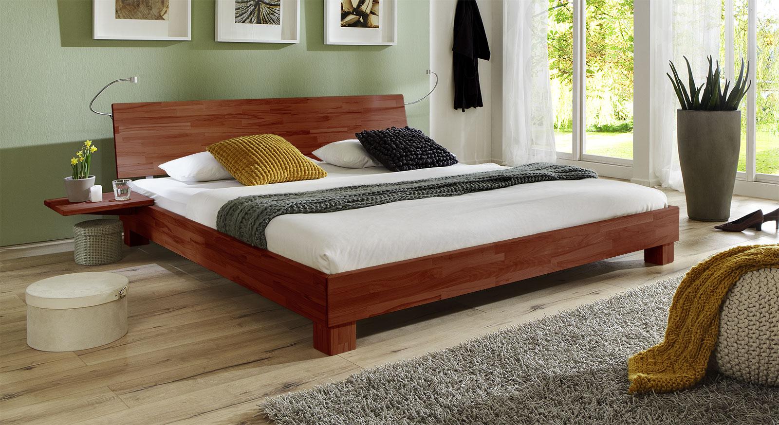 Doppelbett Lesina in Buche kirschbaum lackiert