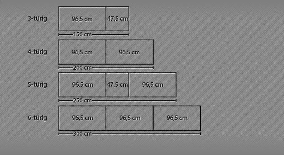 Breitenansicht für den Drehtüren-Kleiderschrank Ageo mit bis zu 6 Türen