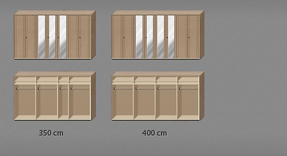 Grafik zur Inneneinteilung des Drehtüren-Kleiderschranks Ageo ab 7 Türen