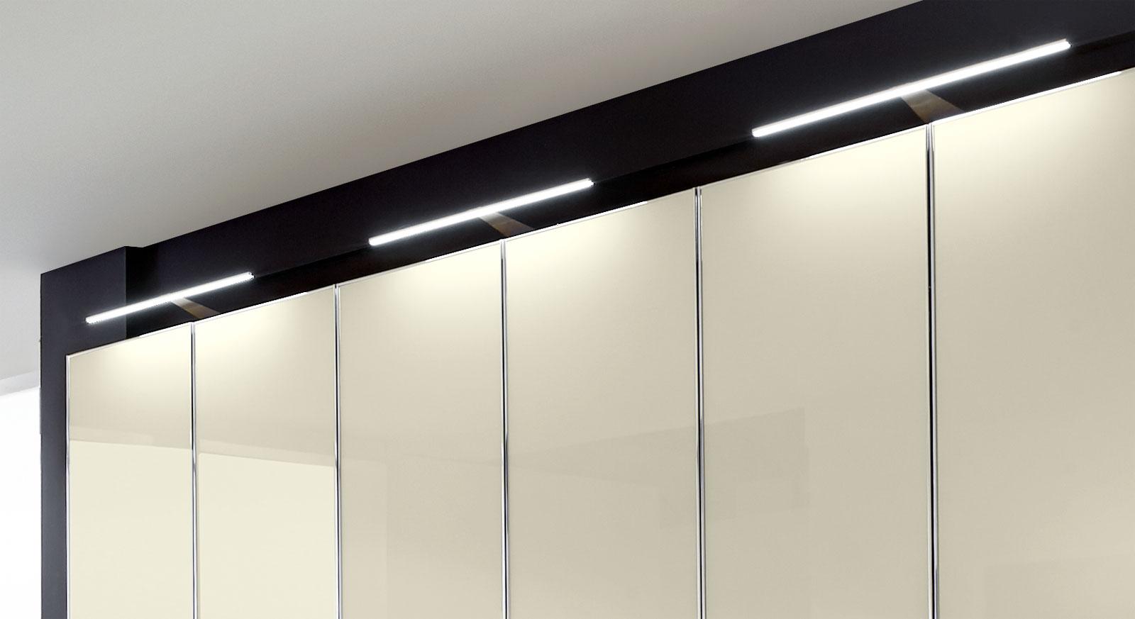 Drehtüren-Kleiderschrank Banga mit optionalen LED-Aufsatzleuchten