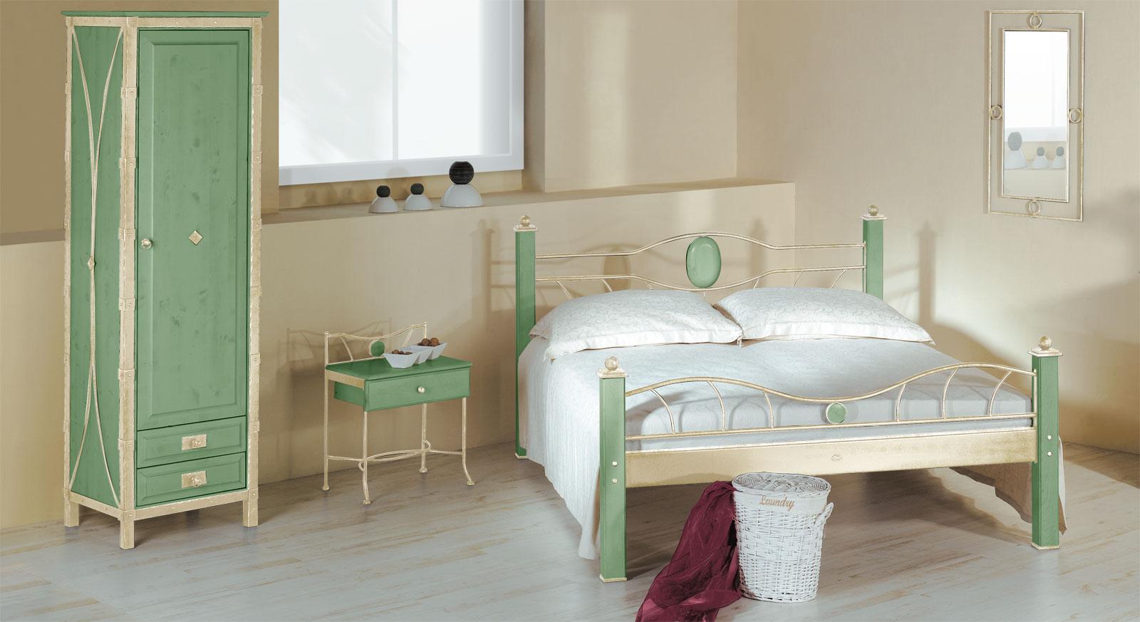 Eintüriger Drehtüren-Kleiderschrank Lavia in Grün und Creme-Gold
