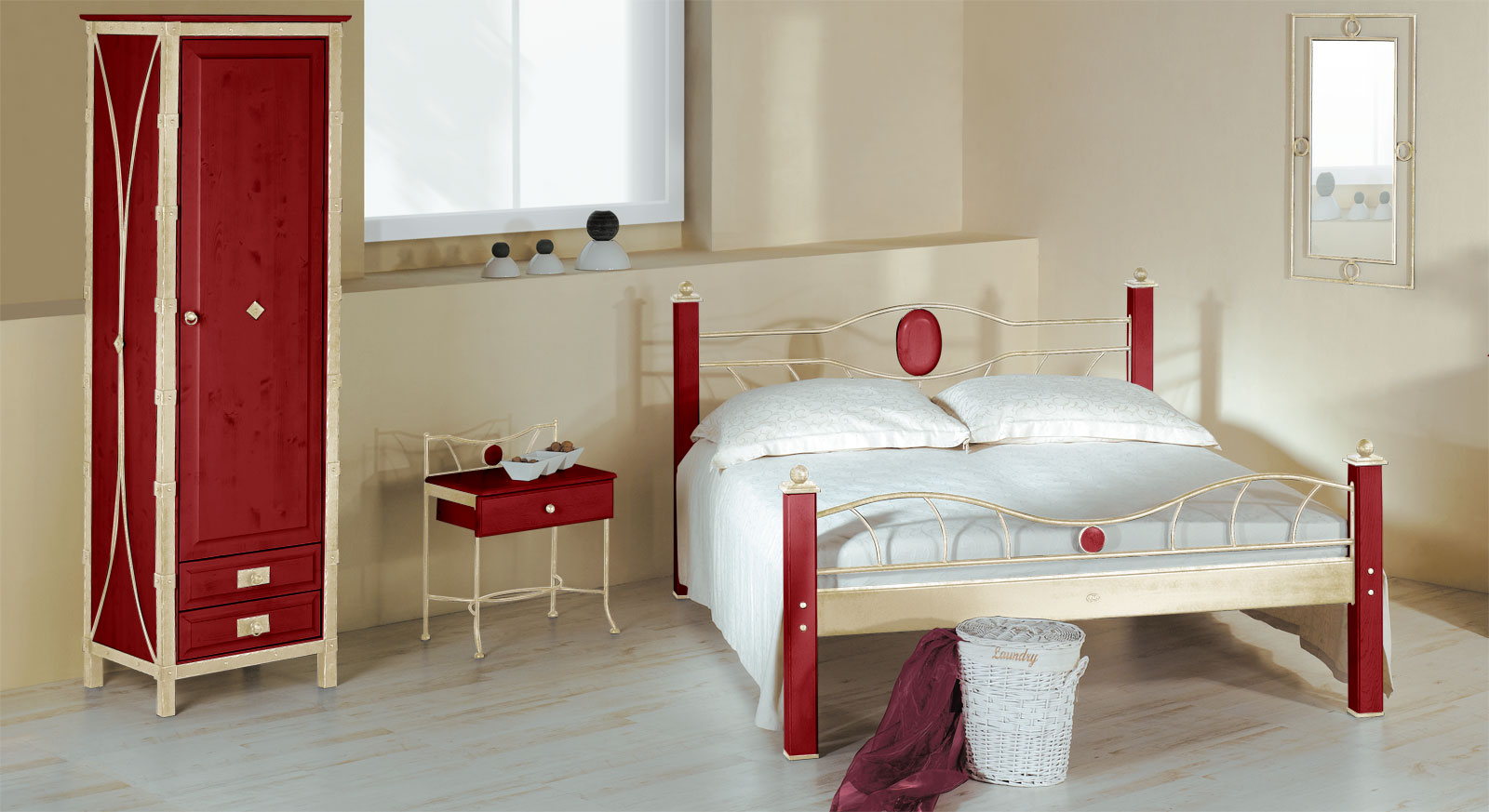 Eintüriger Drehtüren-Kleiderschrank Lavia in Rot und Creme-Gold