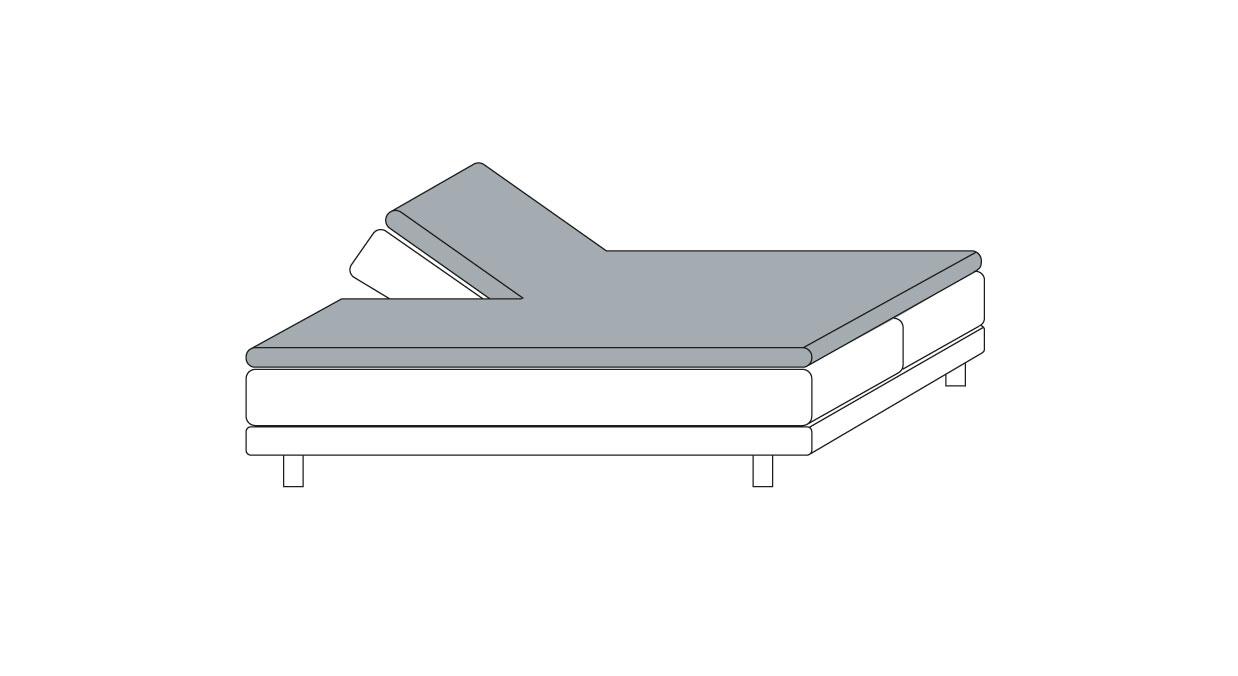 Spannlaken mit Einschnitt für verstellbare Kopfseite