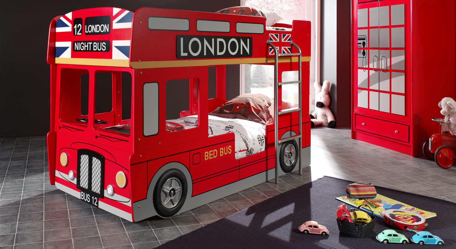 Etagenbett Paddington aus rot lackiertem MDF