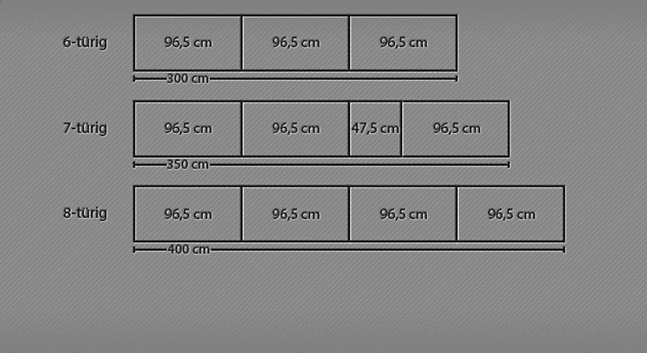 Grafik für den 6- bis 8-türigen Drehtüren-Kleiderschrank