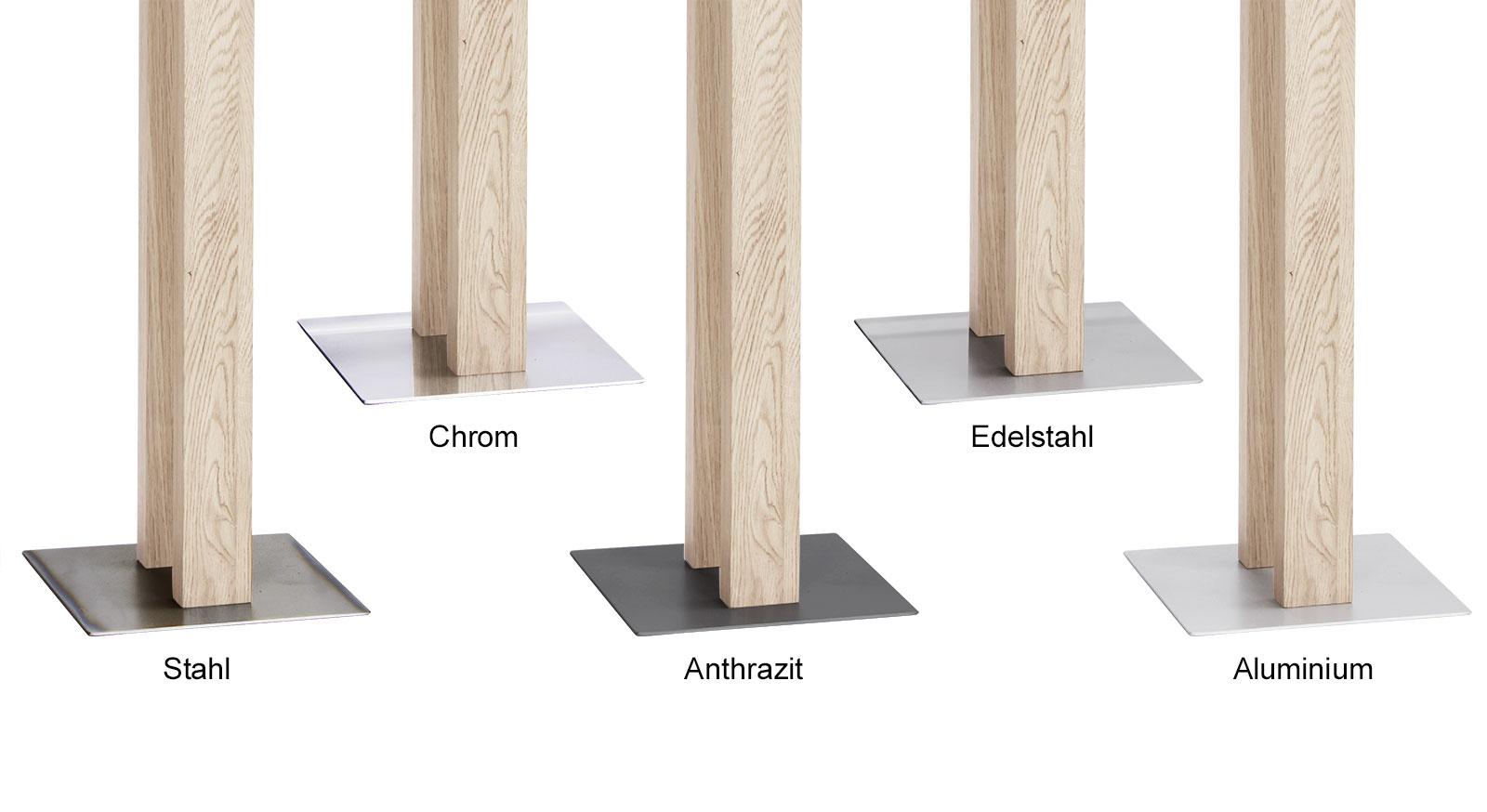 Ansicht der Fußplatten für Herrendiener