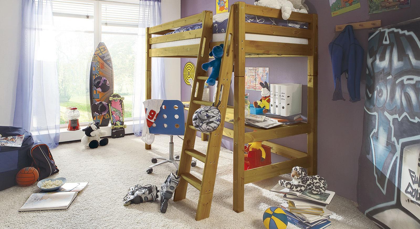Hochbett Kids Paradise in Kiefer gelaugt mit passenden Produkten