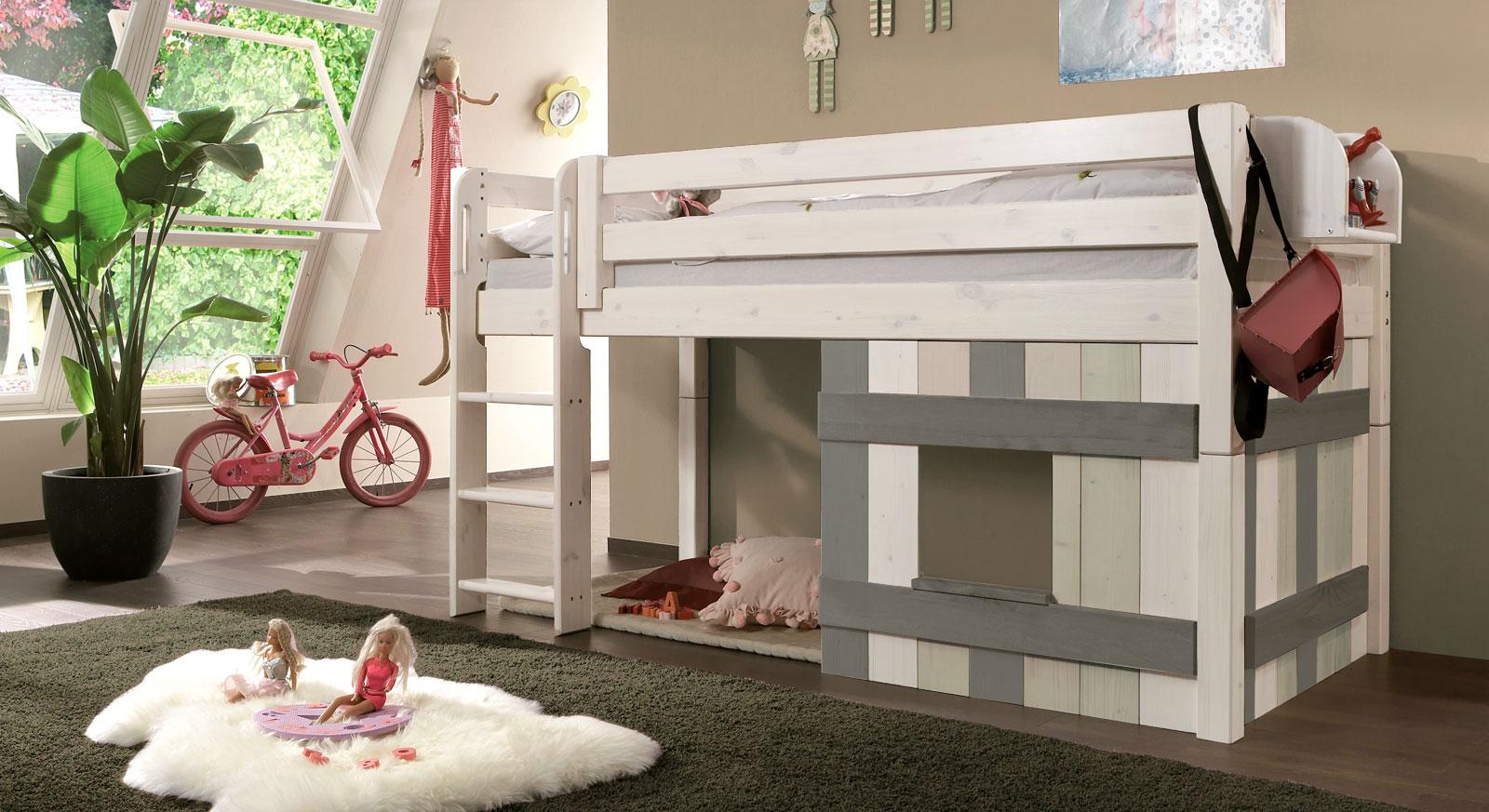 Kinderhochbett mit Leiter und Hütte aus Holz - Kids Paradise