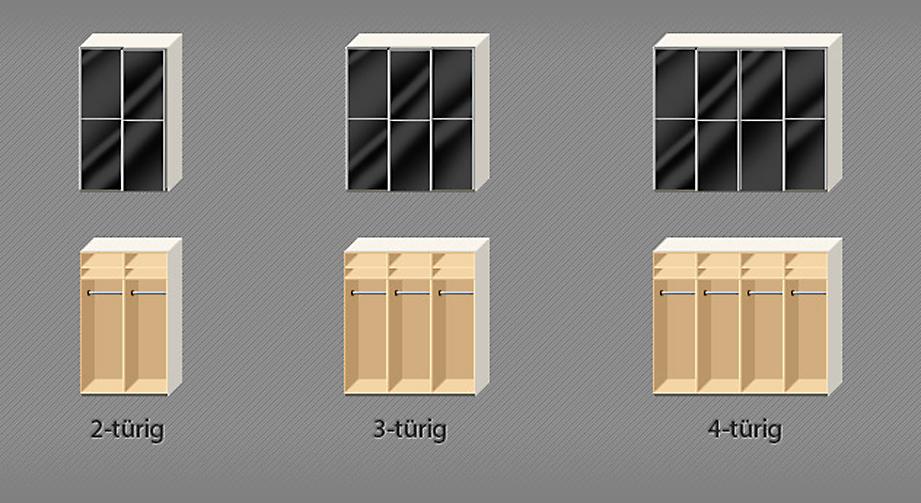Kleiderschrank Madison Glasfront schwarz mit Streifen Varianten