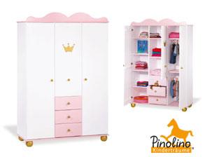 kinder kleiderschrank pauline in wei rosa und golden