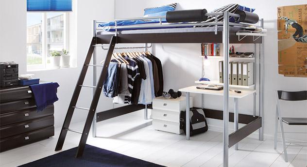 schlafzimmer komplett mit metall hochbett und schreibtisch finn. Black Bedroom Furniture Sets. Home Design Ideas